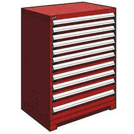 "Rousseau Metal Heavy Duty Modular Drawer Cabinet 11 Drawer Counter High 36""W - Red"