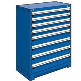 "Rousseau Metal Heavy Duty Modular Drawer Cabinet 8 Drawer Counter High 36""W - Avalanche Blue"