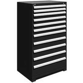 "Rousseau Metal Heavy Duty Modular Drawer Cabinet 11 Drawer Full Height 36""W - Black"