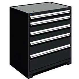 "Rousseau Metal Heavy Duty Modular Drawer Cabinet 5 Drawer Counter High 36""W - Black"