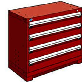 "Rousseau Metal Heavy Duty Modular Drawer Cabinet 4 Drawer Bench High 36""W - Red"