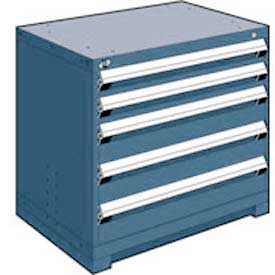 "Rousseau Metal Heavy Duty Modular Drawer Cabinet 5 Drawer Bench High 36""W - Everest Blue"