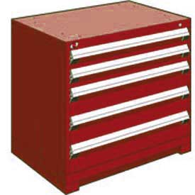 "Rousseau Metal Heavy Duty Modular Drawer Cabinet 5 Drawer Bench High 36""W - Red"