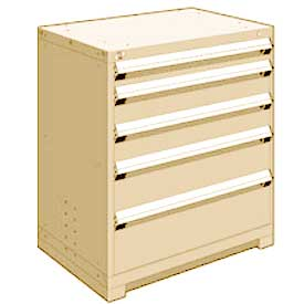 "Rousseau Metal Heavy Duty Modular Drawer Cabinet 5 Drawer Counter High 36""W - Beige"