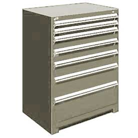 "Rousseau Metal Heavy Duty Modular Drawer Cabinet 7 Drawer Counter High 36""W - Light Gray"
