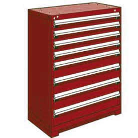 "Rousseau Metal Heavy Duty Modular Drawer Cabinet 8 Drawer Counter High 36""W - Red"