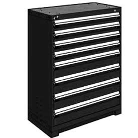 "Rousseau Metal Heavy Duty Modular Drawer Cabinet 8 Drawer Counter High 36""W - Black"