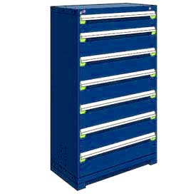 "Rousseau Metal Heavy Duty Modular Drawer Cabinet 7 Drawer Full Height 36""W - Avalanche Blue"