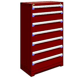 "Rousseau Metal Heavy Duty Modular Drawer Cabinet 7 Drawer Full Height 36""W - Red"