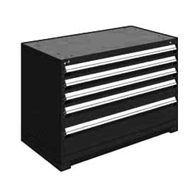 "Rousseau Metal Heavy Duty Modular Drawer Cabinet 5 Drawer Bench High 48""W - Black"