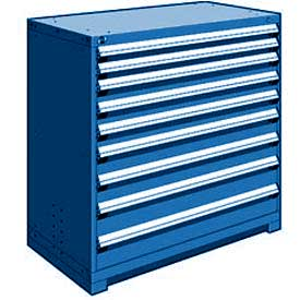 "Rousseau Metal Heavy Duty Modular Drawer Cabinet 9 Drawer Counter High 48""W - Avalanche Blue"