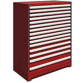 "Rousseau Metal Heavy Duty Modular Drawer Cabinet 15 Drawer Full Height 48""W - Red"