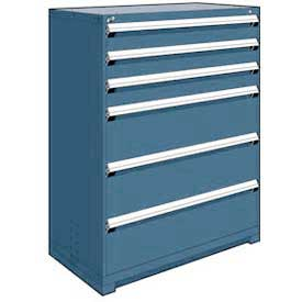 "Rousseau Metal Heavy Duty Modular Drawer Cabinet 6 Drawer Full Height 48""W - Everest Blue"