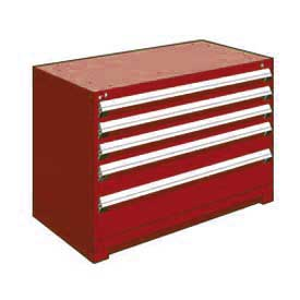 "Rousseau Metal Heavy Duty Modular Drawer Cabinet 5 Drawer Bench High 48""W - Red"