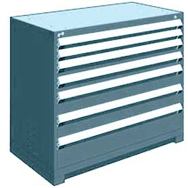 "Rousseau Metal Heavy Duty Modular Drawer Cabinet 7 Drawer Counter High 48""W - Everest Blue"