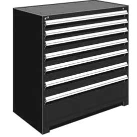 "Rousseau Metal Heavy Duty Modular Drawer Cabinet 7 Drawer Counter High 48""W - Black"