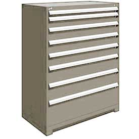 "Rousseau Metal Heavy Duty Modular Drawer Cabinet 8 Drawer Full Height 48""W - Light Gray"