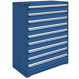 "Rousseau Metal Heavy Duty Modular Drawer Cabinet 9 Drawer Full Height 48""W - Avalanche Blue"