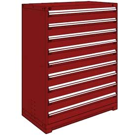"Rousseau Metal Heavy Duty Modular Drawer Cabinet 9 Drawer Full Height 48""W - Red"