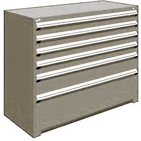 "Rousseau Metal Heavy Duty Modular Drawer Cabinet 6 Drawer Counter High 60""W - Light Gray"