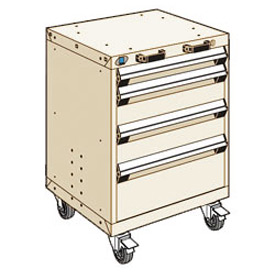 "Rousseau Metal 4 Drawer Heavy-Duty Mobile Modular Drawer Cabinet - 24""Wx21""Dx33-1/4""H Beige"