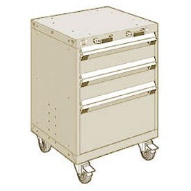 "Rousseau Metal 3 Drawer Heavy-Duty Mobile Modular Drawer Cabinet - 24""Wx21""Dx33-1/4""H Beige"