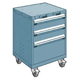 "Rousseau Metal 3 Drawer Heavy-Duty Mobile Modular Drawer Cabinet - 24""Wx21""Dx33-1/4""H Everest Blue"