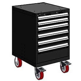 "Rousseau Metal 6 Drawer Heavy-Duty Mobile Modular Drawer Cabinet - 24""Wx21""Dx37-1/2""H Black"