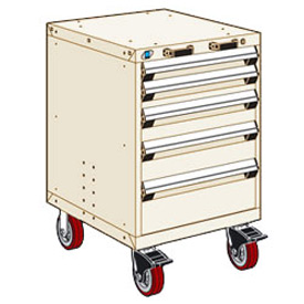 "Rousseau Metal 5 Drawer Heavy-Duty Mobile Modular Drawer Cabinet - 24""Wx21""Dx37-1/2""H Beige"