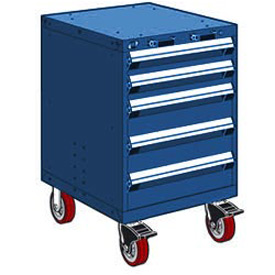 "Rousseau Metal 5 Drawer Heavy-Duty Mobile Modular Drawer Cabinet - 24""Wx21""Dx37-1/2""H Avalanche Blue"