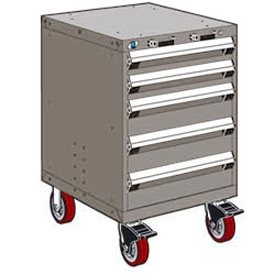 "Rousseau Metal 5 Drawer Heavy-Duty Mobile Modular Drawer Cabinet - 24""Wx21""Dx37-1/2""H Light Gray"