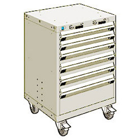 "Rousseau Metal 6 Drawer Heavy-Duty Mobile Modular Drawer Cabinet - 24""Wx21""Dx35-1/4""H Beige"