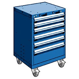"Rousseau Metal 6 Drawer Heavy-Duty Mobile Modular Drawer Cabinet - 24""Wx21""Dx35-1/4""H Avalanche Blue"