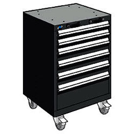 "Rousseau Metal 6 Drawer Heavy-Duty Mobile Modular Drawer Cabinet - 24""Wx21""Dx35-1/4""H Black"
