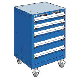 """Rousseau Metal 5 Drawer Heavy-Duty Mobile Modular Drawer Cabinet - 24""""Wx21""""Dx35-1/4""""H Avalanche Blue"""