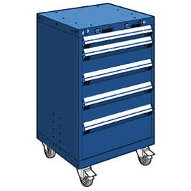 "Rousseau Metal 5 Drawer Heavy-Duty Mobile Modular Drawer Cabinet - 24""Wx21""Dx39-1/4""H Avalanche Blue"