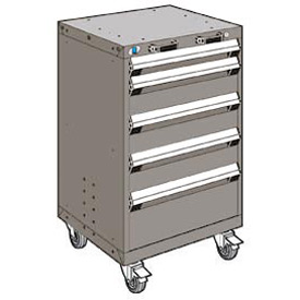 "Rousseau Metal 5 Drawer Heavy-Duty Mobile Modular Drawer Cabinet - 24""Wx21""Dx39-1/4""H Light Gray"
