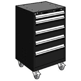 "Rousseau Metal 5 Drawer Heavy-Duty Mobile Modular Drawer Cabinet - 24""Wx21""Dx39-1/4""H Black"