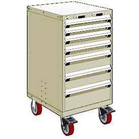 "Rousseau Metal 7 Drawer Heavy-Duty Mobile Modular Drawer Cabinet - 24""Wx21""Dx45-1/2""H Beige"