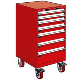 "Rousseau Metal 7 Drawer Heavy-Duty Mobile Modular Drawer Cabinet - 24""Wx21""Dx45-1/2""H Red"