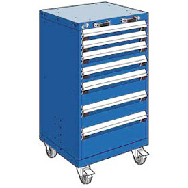 "Rousseau Metal 7 Drawer Heavy-Duty Mobile Modular Drawer Cabinet - 24""Wx21""Dx43-1/4""H Avalanche Blue"