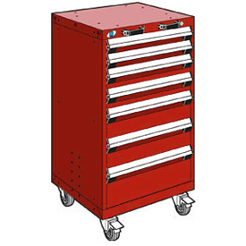 "Rousseau Metal 7 Drawer Heavy-Duty Mobile Modular Drawer Cabinet - 24""Wx21""Dx43-1/4""H Red"