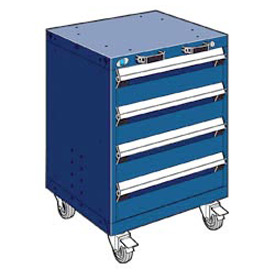 "Rousseau Metal 4 Drawer Heavy-Duty Mobile Modular Drawer Cabinet - 24""Wx27""Dx33-1/4""H Avalanche Blue"