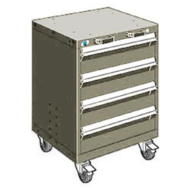"Rousseau Metal 4 Drawer Heavy-Duty Mobile Modular Drawer Cabinet - 24""Wx27""Dx33-1/4""H Light Gray"