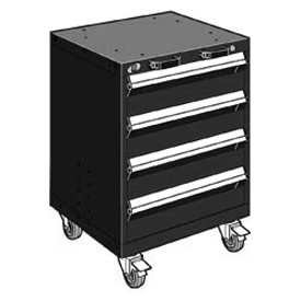 "Rousseau Metal 4 Drawer Heavy-Duty Mobile Modular Drawer Cabinet - 24""Wx27""Dx33-1/4""H Black"