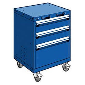 "Rousseau Metal 3 Drawer Heavy-Duty Mobile Modular Drawer Cabinet - 24""Wx27""Dx33-1/4""H Avalanche Blue"