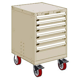 "Rousseau Metal 6 Drawer Heavy-Duty Mobile Modular Drawer Cabinet - 24""Wx27""Dx37-1/2""H Beige"