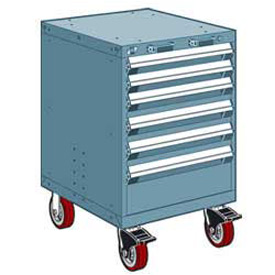 """Rousseau Metal 6 Drawer Heavy-Duty Mobile Modular Drawer Cabinet - 24""""Wx27""""Dx37-1/2""""H Everest Blue"""