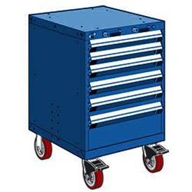 """Rousseau Metal 6 Drawer Heavy-Duty Mobile Modular Drawer Cabinet - 24""""Wx27""""Dx37-1/2""""H Avalanche Blue"""