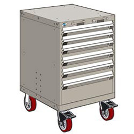 "Rousseau Metal 6 Drawer Heavy-Duty Mobile Modular Drawer Cabinet - 24""Wx27""Dx37-1/2""H Light Gray"